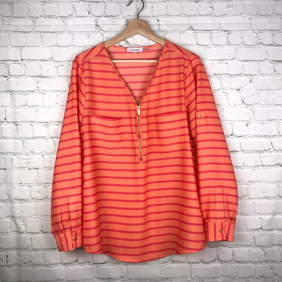 9238b7fff3c Calvin Klein Tops - Calvin Klein blouse large orange pink stripes